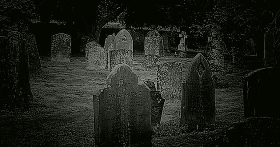 The ghost of a 'Red Lady' haunts this churchyard.